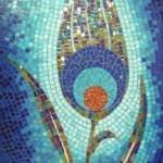 Mavi Lale, Mdf üzerine 60x120cm cam mozaik