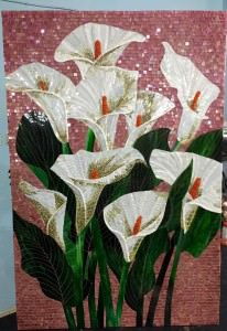 glass mosaic white flower